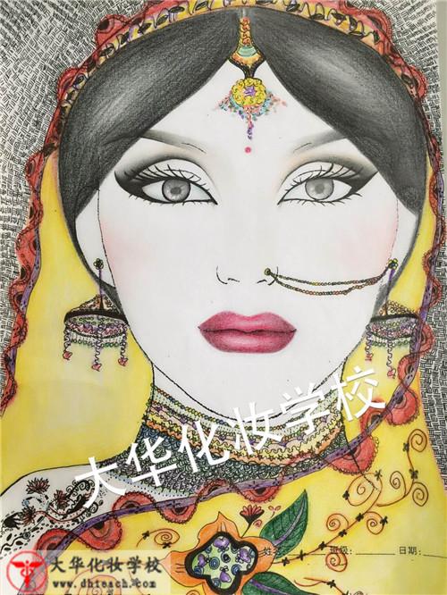 手绘印度妆