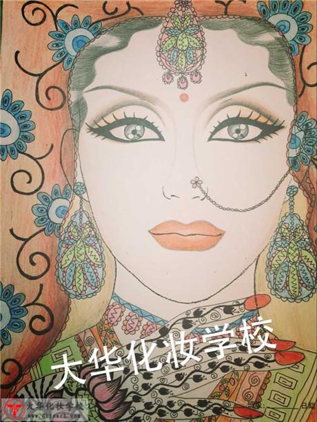 手绘印度美人图